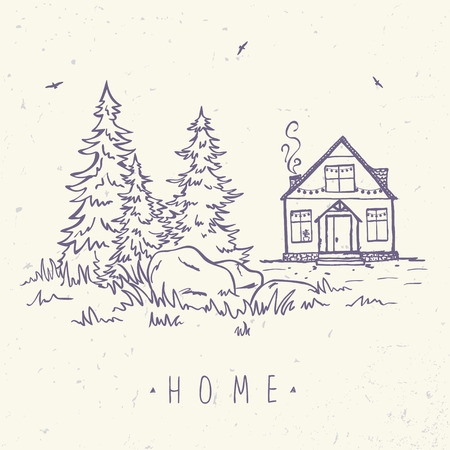 lodge: sketch with house and spruce. sketch. Stylish illustration Illustration