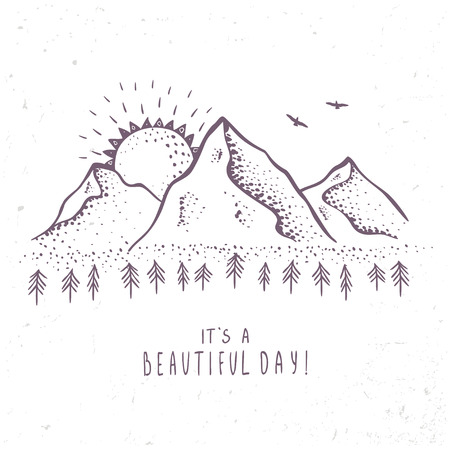 mountains with sun in engraving style. illustration
