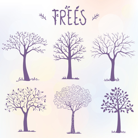 trees silhouette: set of silhouette amazing trees for design. illustration
