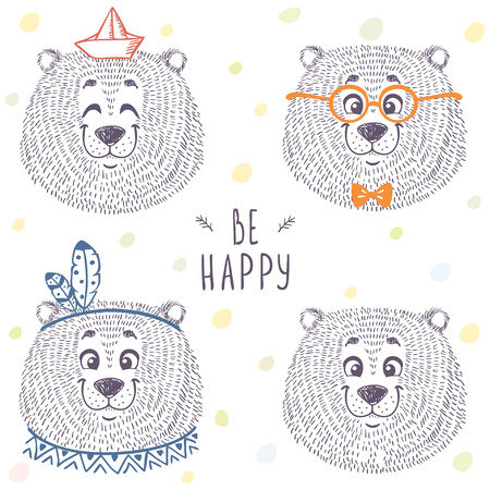 Beautiful set with cute and funny emoticon bear in sketch style.