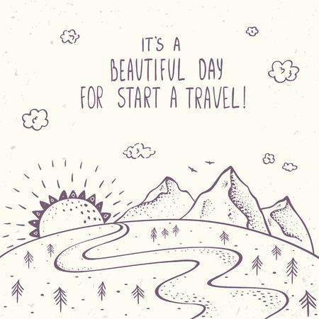 Mooie bergen met zon en de weg in schets stijl.