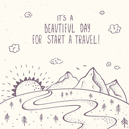 Beautiful mountains with sun and road in sketch style. Illustration