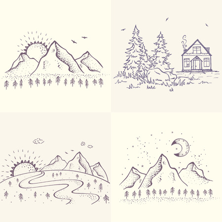 Set with beautiful sketch with house and spruce, mountains with sun and moon. Hand drawn sketch. Stylish illustration Stock Illustratie