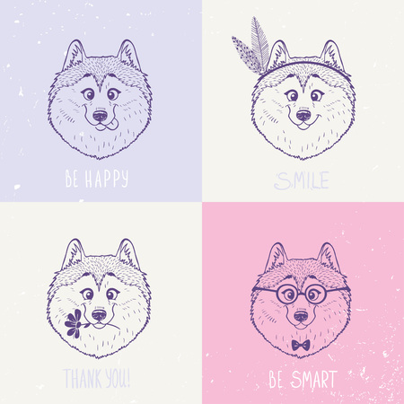 malamute: Beautiful set with cute and funny emoticon husky dogs.