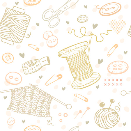 knitting: Beautiful doodle seamless pattern with object for needlework. Hand drawn illustration.