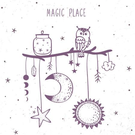 Belle illustration magie de la lune, le soleil, étoile et le hibou sur une branche.