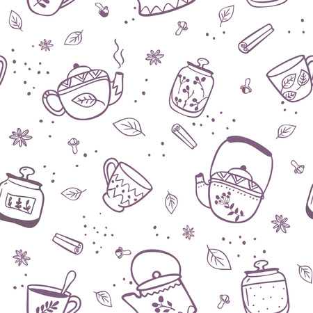 morning breakfast: Beautiful seamless pattern with doodle of kettles and mugs. Stylish vector illustration