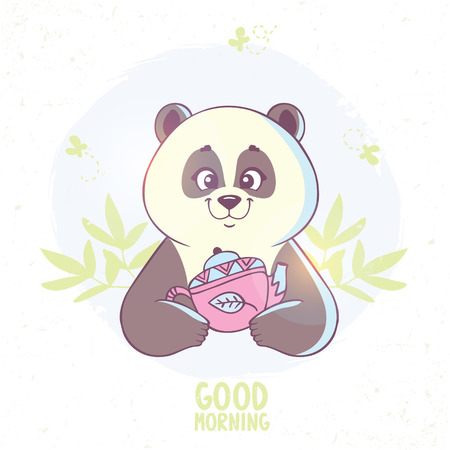 drink coffee: Stylish card with funny and cute cartoon panda with kettle.