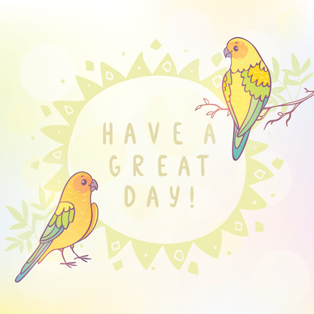 sample: Cute two parrots with sample text. illustration Illustration