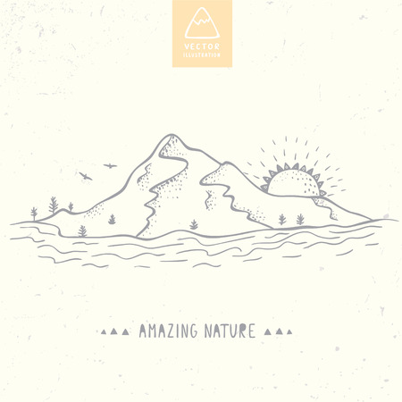 illustration nature mountains, river and sun.  sketch