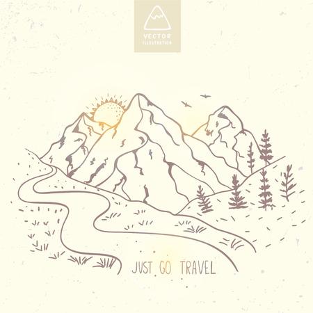 Ilustracja gór natury z tekstem - po prostu przejdź podróży. naszkicować. Ilustracje wektorowe