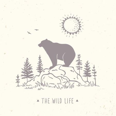 Silhouette of bear on a stone in forest. Stylish illustration