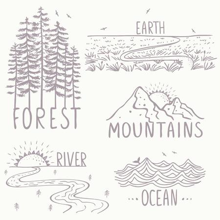 Set met prachtige natuur, bergen en bos, rivier, het veld en de oceaan. Hand getrokken schets. Stock Illustratie
