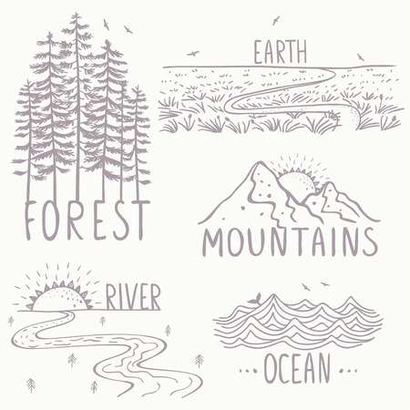Set with beautiful nature, mountains and forest, river, field and ocean. Hand drawn sketch. Иллюстрация