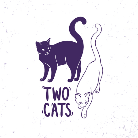 black silhouette: Amazing two black and white cats with sample text.