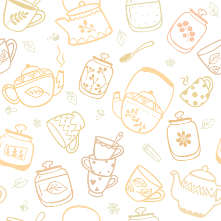 kettles: Beautiful seamless pattern with doodle of kettles and mugs. Stylish illustration Vectores