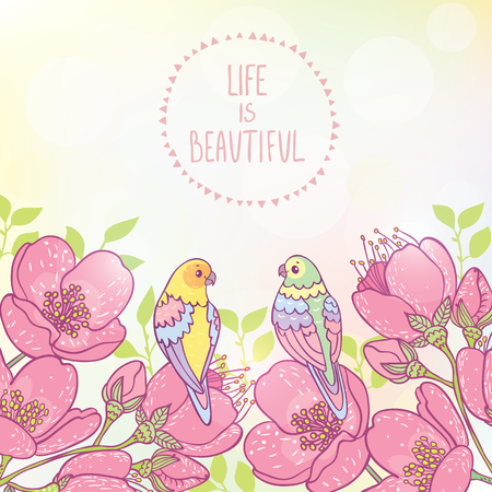 gently: Beautiful illustration with amazing flowers and two cute parrots. Vector illustration Illustration