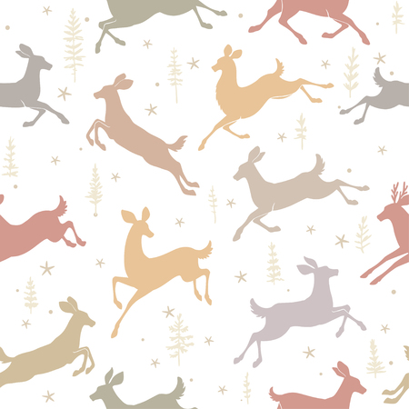 winter wallpaper: Beautiful seamless pattern background with silhouette deers in jumping. Amazing winter wallpaper. Vector illustration Illustration