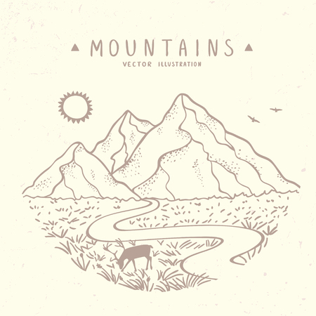 Beautiful vector illustration nature mountains. Hand drawn sketch. Vectores