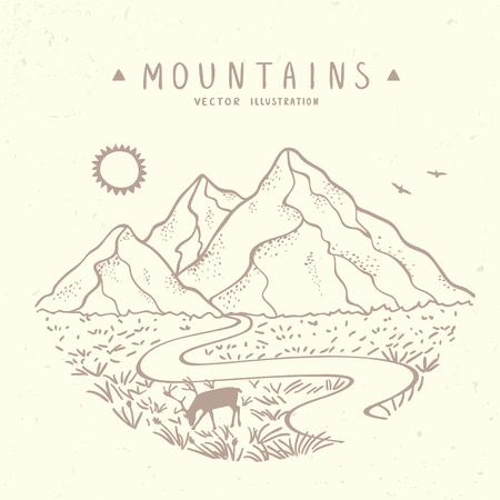 lijntekening: Mooie vectorillustratie natuur bergen. Hand getekende schets.