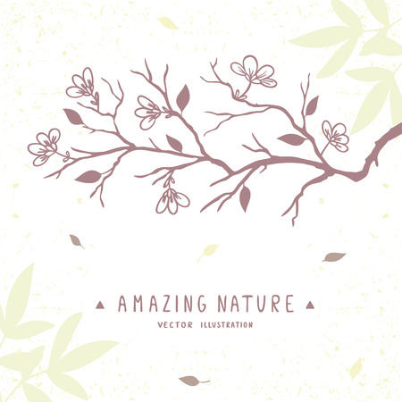 gently: beautiful silhouette gently tree branch with flowers. Stylish vector illustration