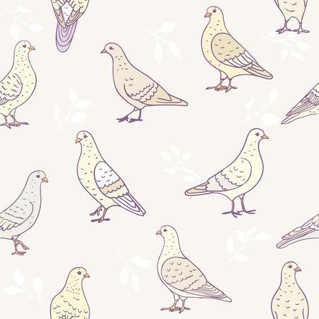 bum: Seamless pattern of cartoon pigeons