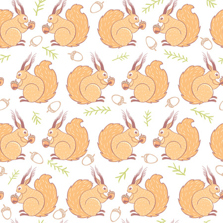 nut: beautiful seamless pattern with cute and sweet squirrels.