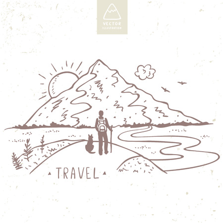Nature mountains with traveler and dog. Hand drawn sketch. Beautiful vector illustration