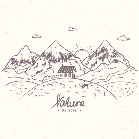 contours: Beautiful doodle nature mountains with house. Hand drawn sketch. Vector illustration