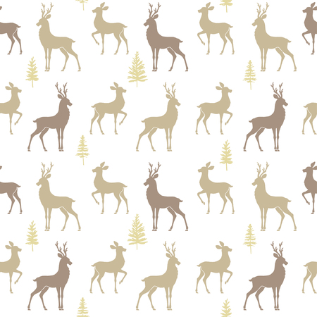 winter wallpaper: Beautiful seamless pattern background with silhouette deers. Amazing winter wallpaper. Vector illustration