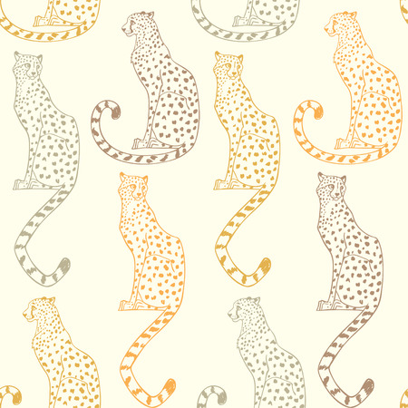 Beautiful seamless pattern background with amazing animal cheetah. Vector illustration