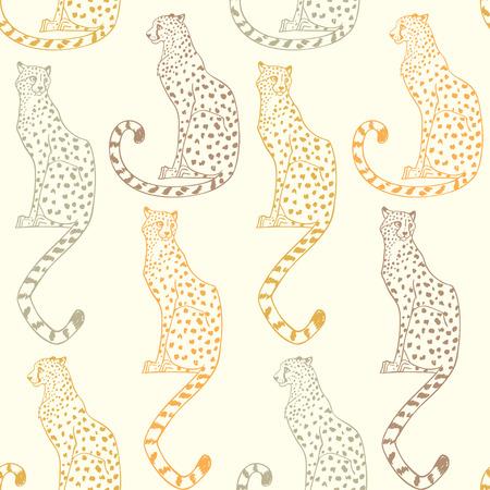 Beautiful seamless pattern background with amazing animal cheetah. Vector illustration