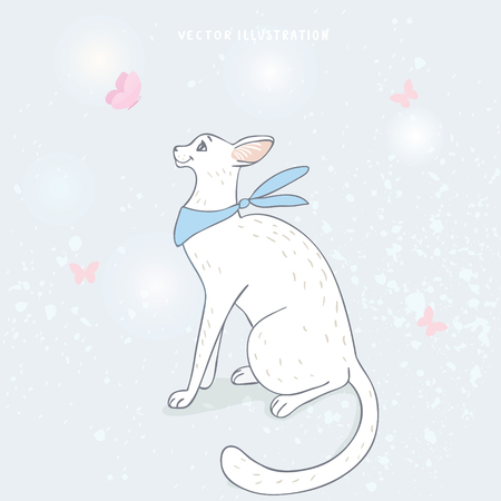 gently: Amazing white cartoon cat with butterfly. Cool poster with beautiful pet. Vector illustration
