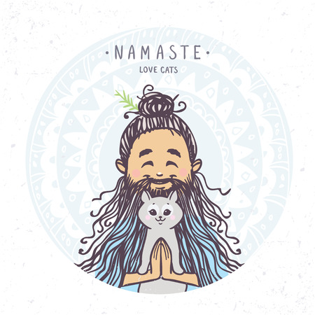 yogi: Character man in greeting pose namaste with cute cat. Vector illustration. Practicing Yoga
