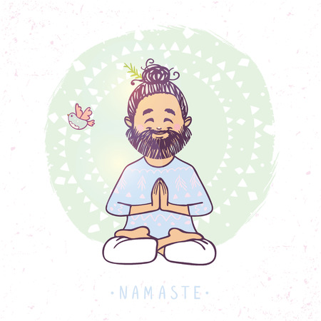 Character positive man in greeting pose namaste. Vector illustration. Practicing Yoga
