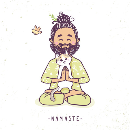 Character positive man with cute cat in greeting pose namaste. Vector illustration. Practicing Yoga