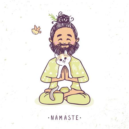 hombre positivo personaje con el gato lindo en actitud del saludo del namaste. Ilustración del vector. La práctica de Yoga