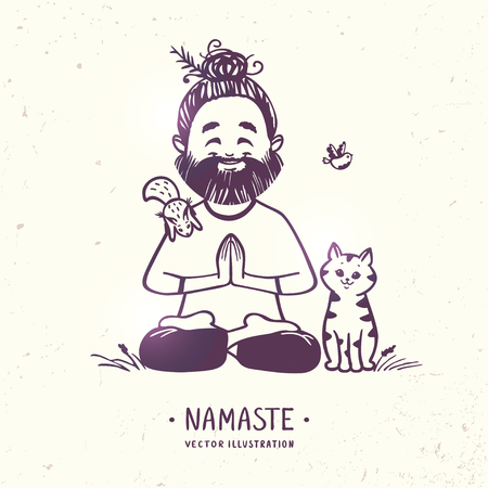 namaste: Character positive man with cute cat, squirrel and bird in greeting pose namaste. Vector illustration. Practicing Yoga