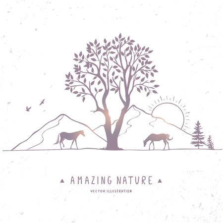 Beautiful nature with amazing silhouette tree and horses. Vector illustration Illustration