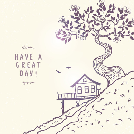 tree outline: Beautiful hand drawn doodle with view hill with home and amazing tree. Vector illustration, sketch.