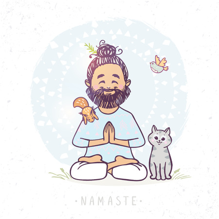 cute cartoon animals: Character positive yoga man in greeting pose namaste with cute cat and squirrel . Vector illustration. Practicing Yoga