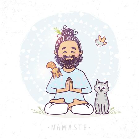 Karakter positieve yoga man in begroeting poseren namaste met leuke kat en eekhoorn. Vector illustratie. Het beoefenen van Yoga Stock Illustratie