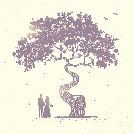 hugging: silhouette of beautiful tree and loving couple at sunset. vector illustration