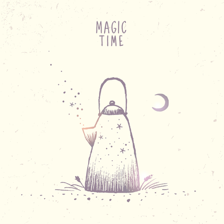 cosily: Beautiful doodle silhouette of magic kettle with stars and moon. Hand drawn sketch. Stylish vector illustration