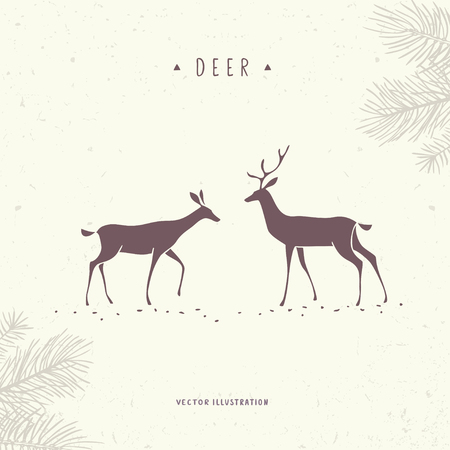 beautiful and amazing silhouette stylized two deer stylish vector rh 123rf com Elk Vector Vector Deer Skull