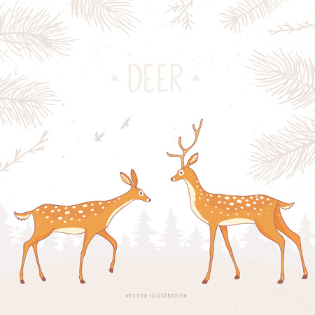 gently: Beautiful and amazing character stylized two deer. Stylish vector illustration
