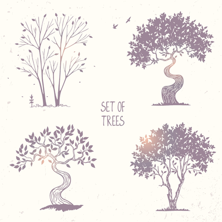 tall: Beautiful set of silhouette amazing trees for design. Vector illustration Illustration