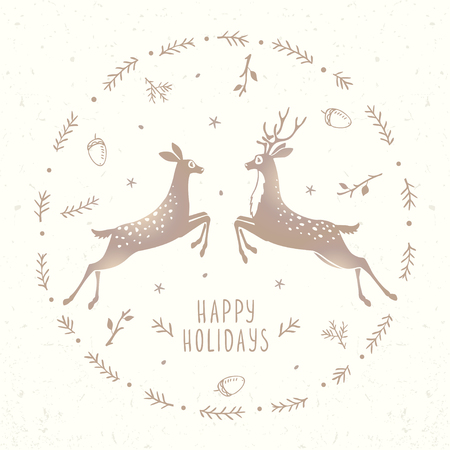 gently: Beautiful silhouette of two character stylized deer in frame branch. Stylish vector illustration. Amazing winter holiday card