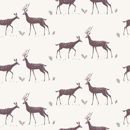 Beautiful seamless pattern background with silhouette gorgeous deers. Amazing wallpaper for your design. Vector illustration Illustration
