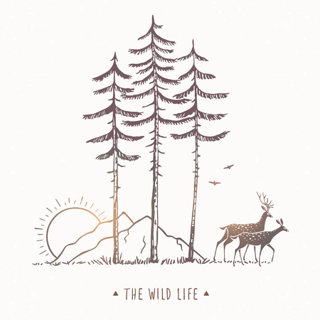 Beautiful nature with amazing silhouette of two stylized deer, mountain and tall pines. Vector illustration